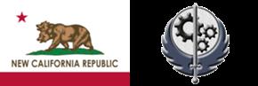 NCR flag and Brotherhood of Steel emblem