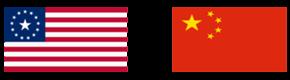 USA flag and Chinese flag