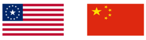 USA and Chinese flags